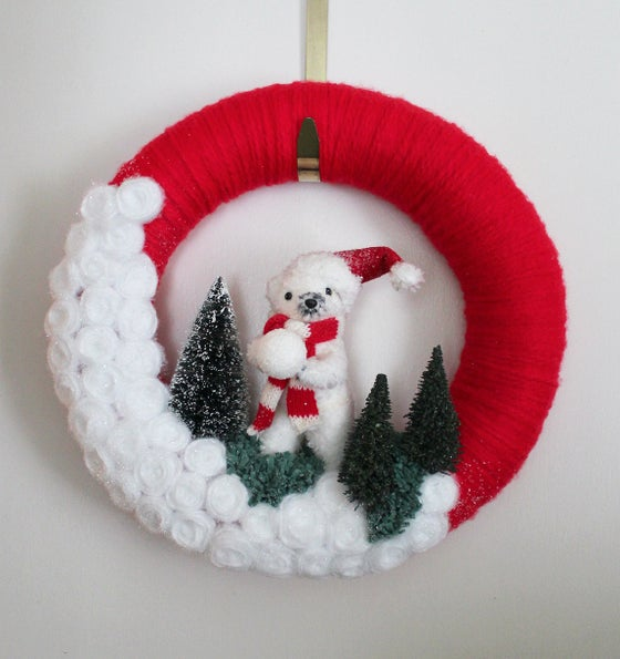 Image of Polar Bear Wreath, Red and White Winter Wreath, 14-inch size, Ready to Ship