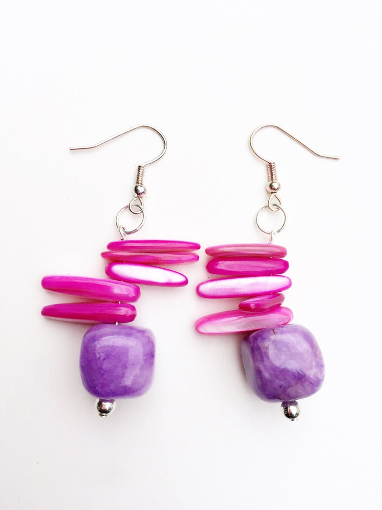 Image of Pink and Purple Stone Earrings