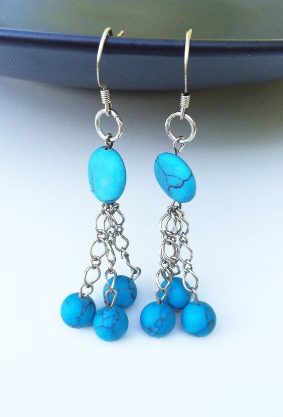 Image of Triple Ball Turquoise Earrings