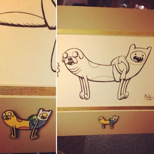 Image of CAT/DOG - JAKE/FINN pin production art with pin