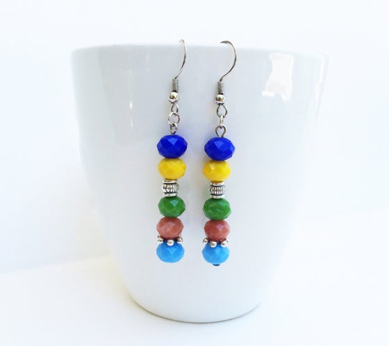 Image of Multicolored Pastel Crystal Earrings