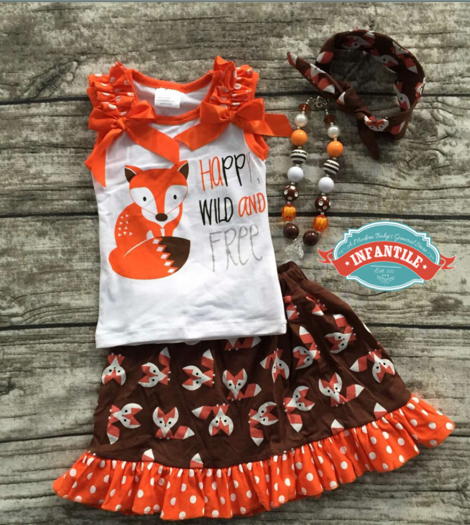 becb6df7b Infantile — Happy Wild and Free Fox Tank Top and Skirt Set, Little ...
