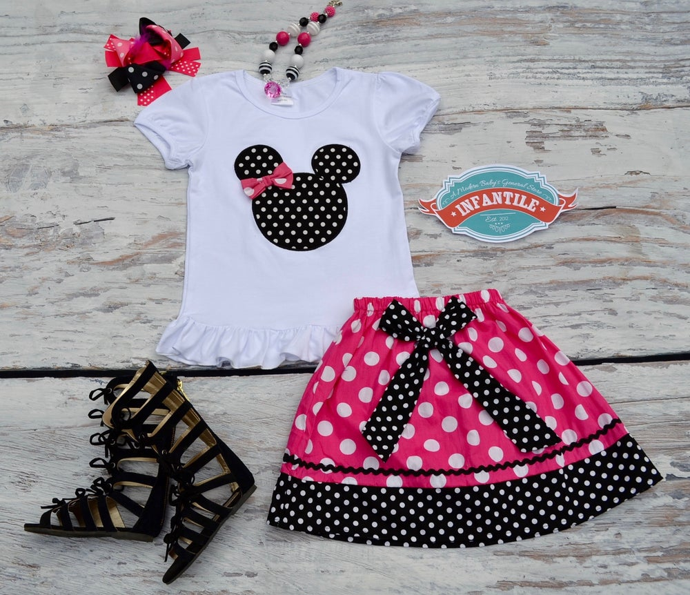 Image of Minnie Mouse Inspired Skirt Set, Baby Toddler Girl Ruffle Top & Skirt, Disney Trip, Princess Outfit