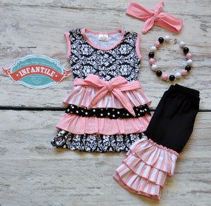 33d19a83d Image of Black and Pink Damask Ruffled Capri Outfit, Triple Ruffle Capris,  Sister Sets