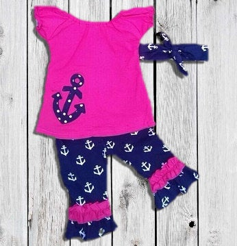 491e9a527b02b Infantile — Sassy Sailor Hot Pink & Navy Blue Anchor Top & Capri ...