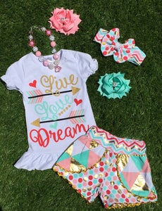 Image of Live Love Dream Boho Babe Top & Colorful Metallic Gold Shorts, Cousin Sister Set, Heart Arrow Design
