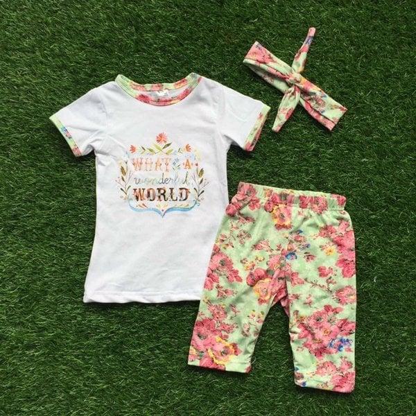 Image of What a Wonderful World Boho Girl Flower Design Top & Shorts, Baby Toddler Little Girl