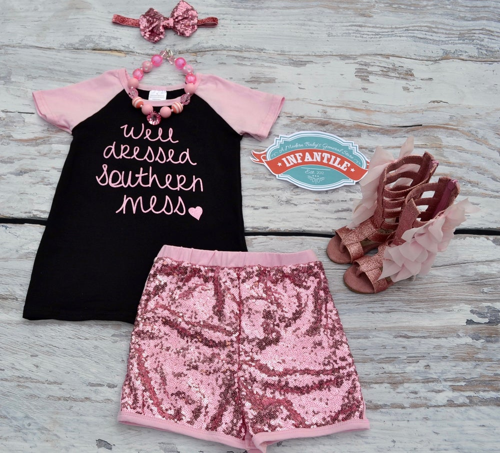 Image of Well Dressed Southern Mess 2 Piece Black & Pink Raglan Top & Pink Sequin Shorts, Baby Girl Toddler