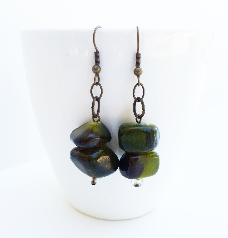 Image of Green Stone Earrings