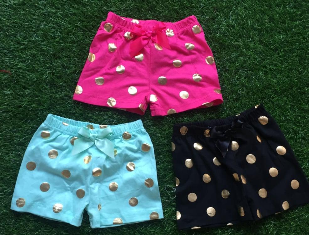 Image of Glamour Gold Polka Dot Shorts, Black, Hot Pink & Aqua Blue Teal, Bow at Waist, 18 mos - 7yrs