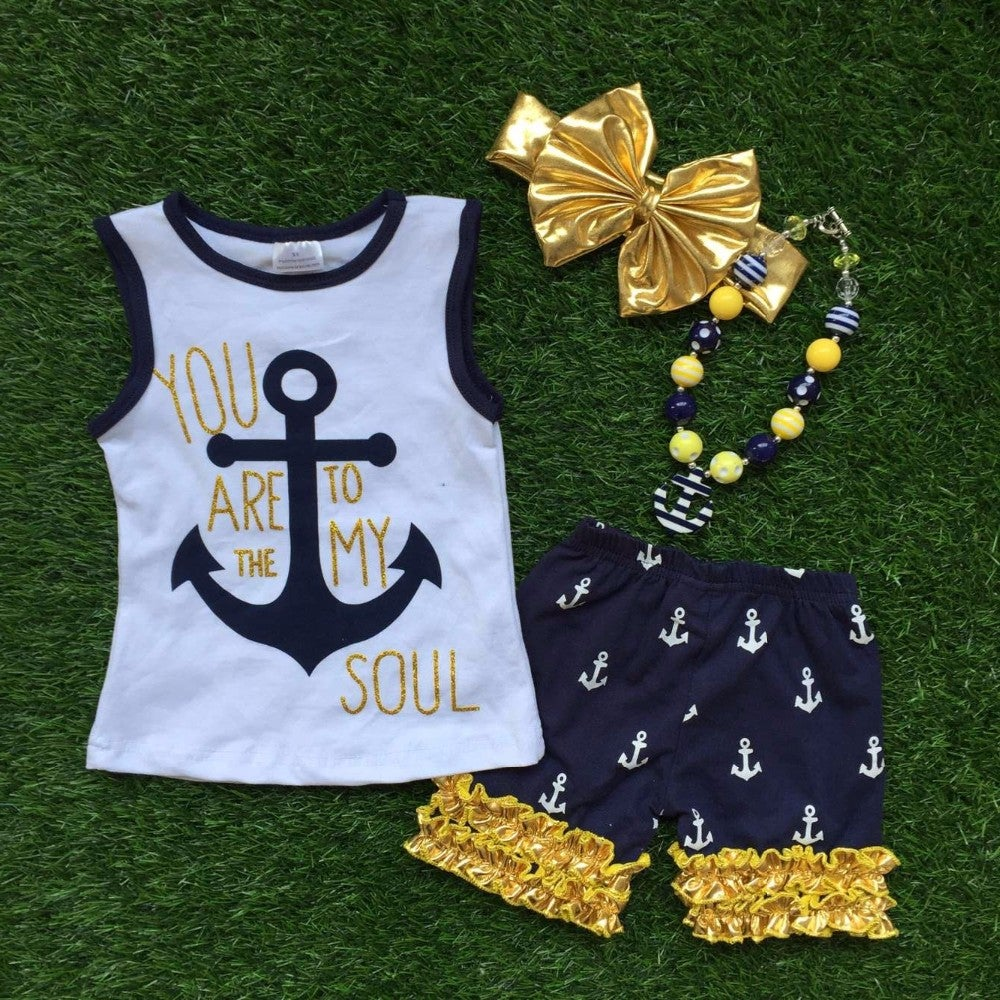 Image of You Are the Anchor to My Soul Outfit, Navy Blue & Gold Anchor Set, Toddler Little Girl, Sisters