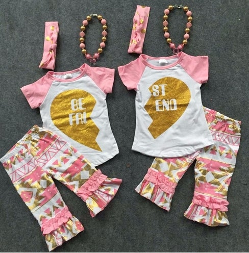 Image of Best Friends Pink & Gold Raglan T-shirt & Capri Pants, BFF, Baby Little Girl, Sister/Cousin Set