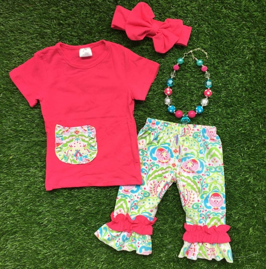 Image of Big Sister Pop of Floral Bright Pink Top & Ruffled Capris, Summer Girl Outfit, Toddler Outfit