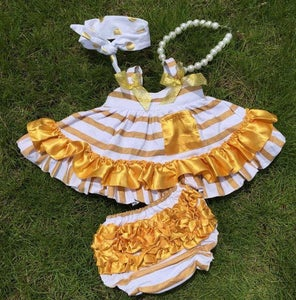 Image of White with Gold Stripe & Gold Trim Swing Top, Ruffle Bloomers; Glamour Baby, First Birthday