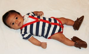 Image of Baby Boy's Bow Tie Cardigan Onesie, Striped Navy Blue Red Trim, Boy First Birthday, Photos