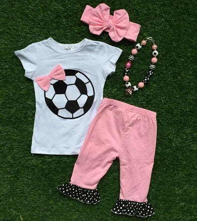 Image of Soccer Sweetie Top & Ruffle Capris, Pink and Black, Soccer Ball Outfit, Toddler Baby Girl, Necklace