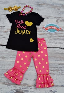 Image of Y'all Need Jesus Little Girl Toddler Baby Outfit, Fuchsia Pink & Gold, Gold Polka Dot