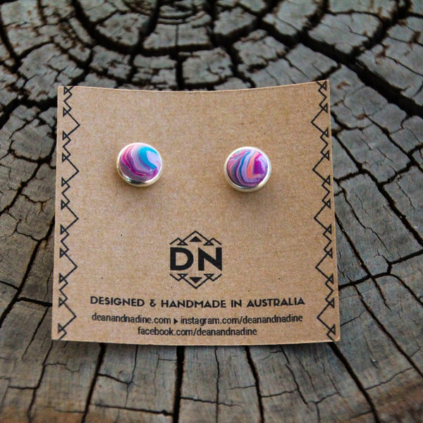 Image of Medium Studs Silver Plated | Marble
