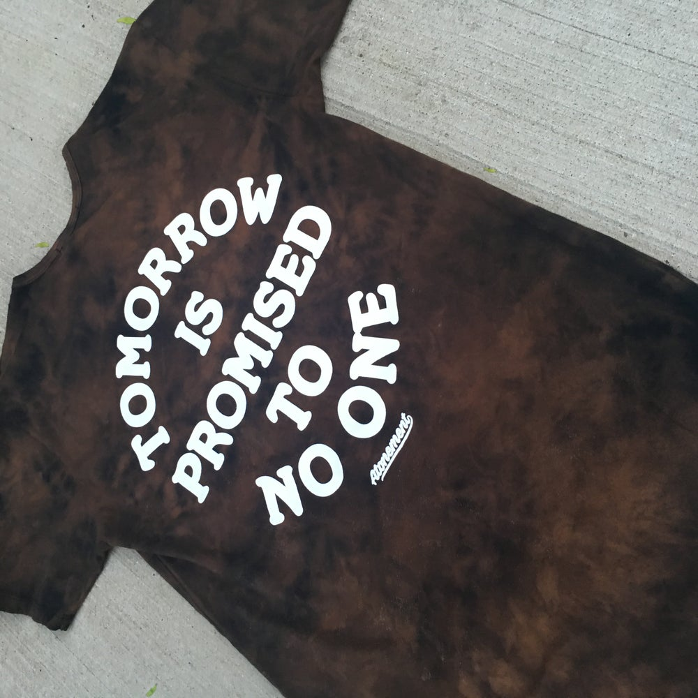 "Image of The ""Tomorrow Is Promised To No One"" Scallop Tee in Tossed Bleach"
