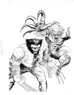 Image of Wolverine and Sabertooth inked piece