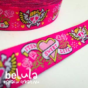 Image of Cinta de tela: Calaveras rosa corazones