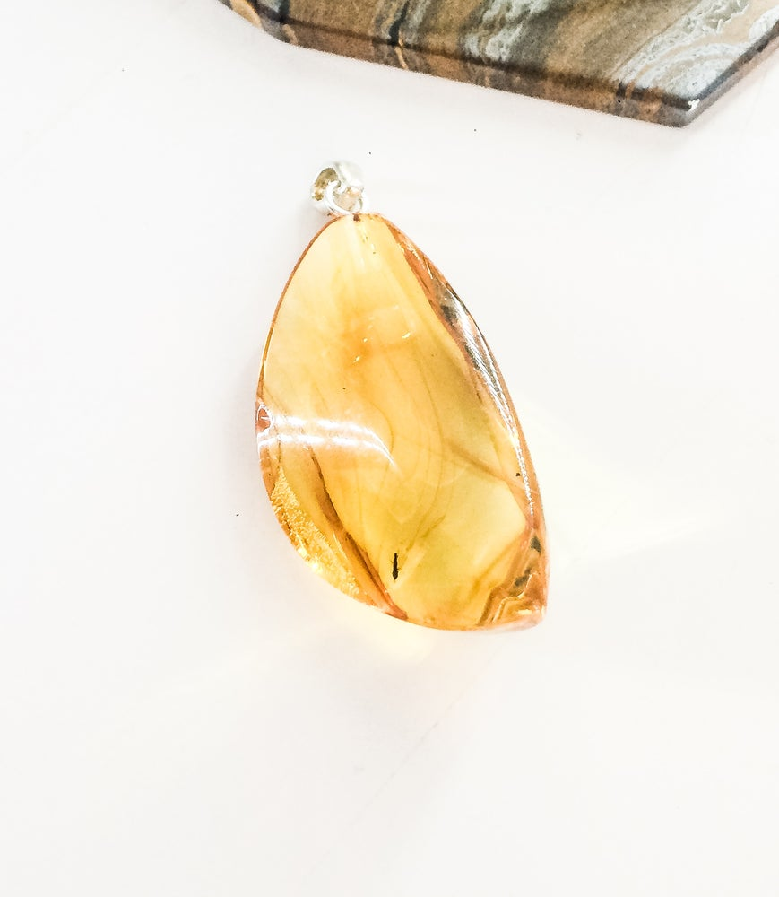 Image of Yellow Amber and 925 Silver Pendant