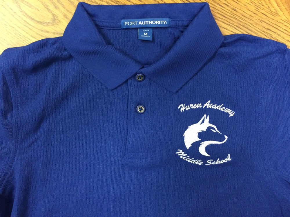 Image of Huron Middle School LONG SLEEVE Polo Shirt