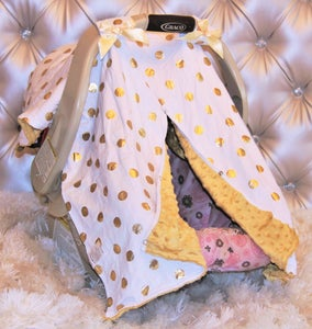 Image of Gold Dot Glamour Minky Baby Car Seat Canopy: White with Gold Polka Dots Gold Minky, Baby Shower