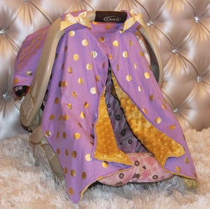 Image of Lavender Purple Gold Dot Glamour Minky Baby Car Seat Cover; Baby Shower Gift