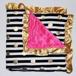 Image of Gold Dot Glamour Minky Baby Blanket: Black & White Stripe & Hot Pink Minky, Baby Shower Gift, Bling