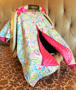 Image of Pretty Paisley Boho Baby Car Seat Canopy, Pink Blue Green, Bright Pink Minky, Satin Ruffle, Gift