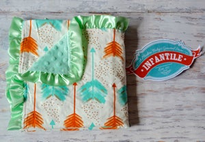 Image of Boho Baby Minky Baby Blanket, Colorful Feather Print, Mint Minky and Satin Ruffle Trim, Gift