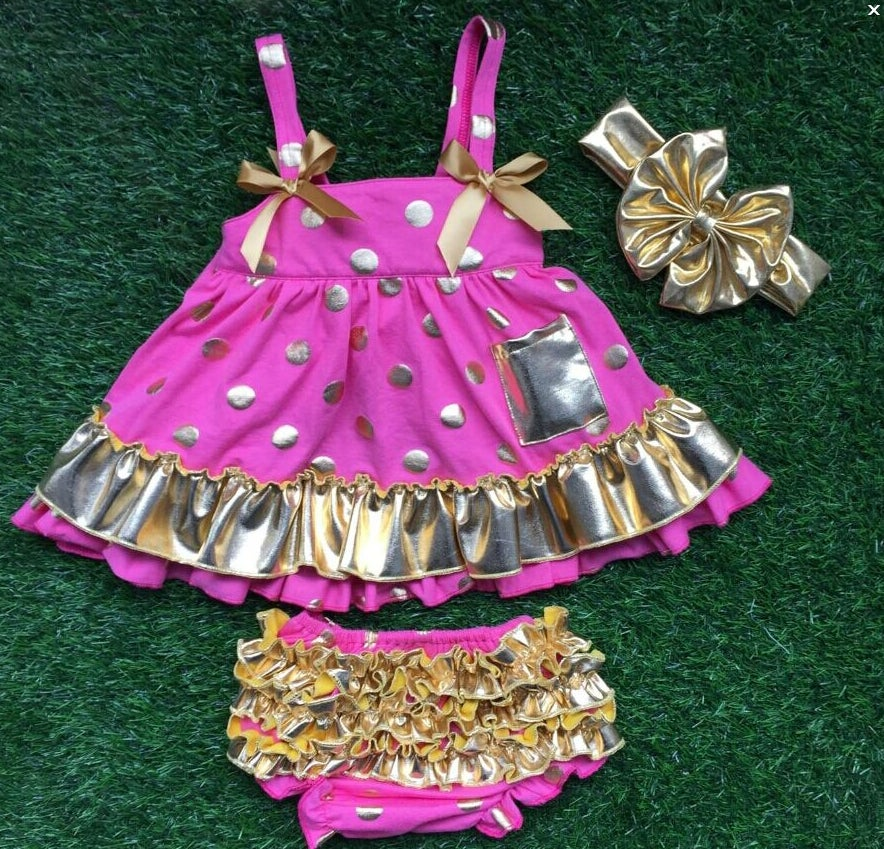 Image of Hot Pink & Gold Polka Dot Princess Swing Top, Ruffle Bloomers; Summer Baby Girl Toddler, Bling, Boho