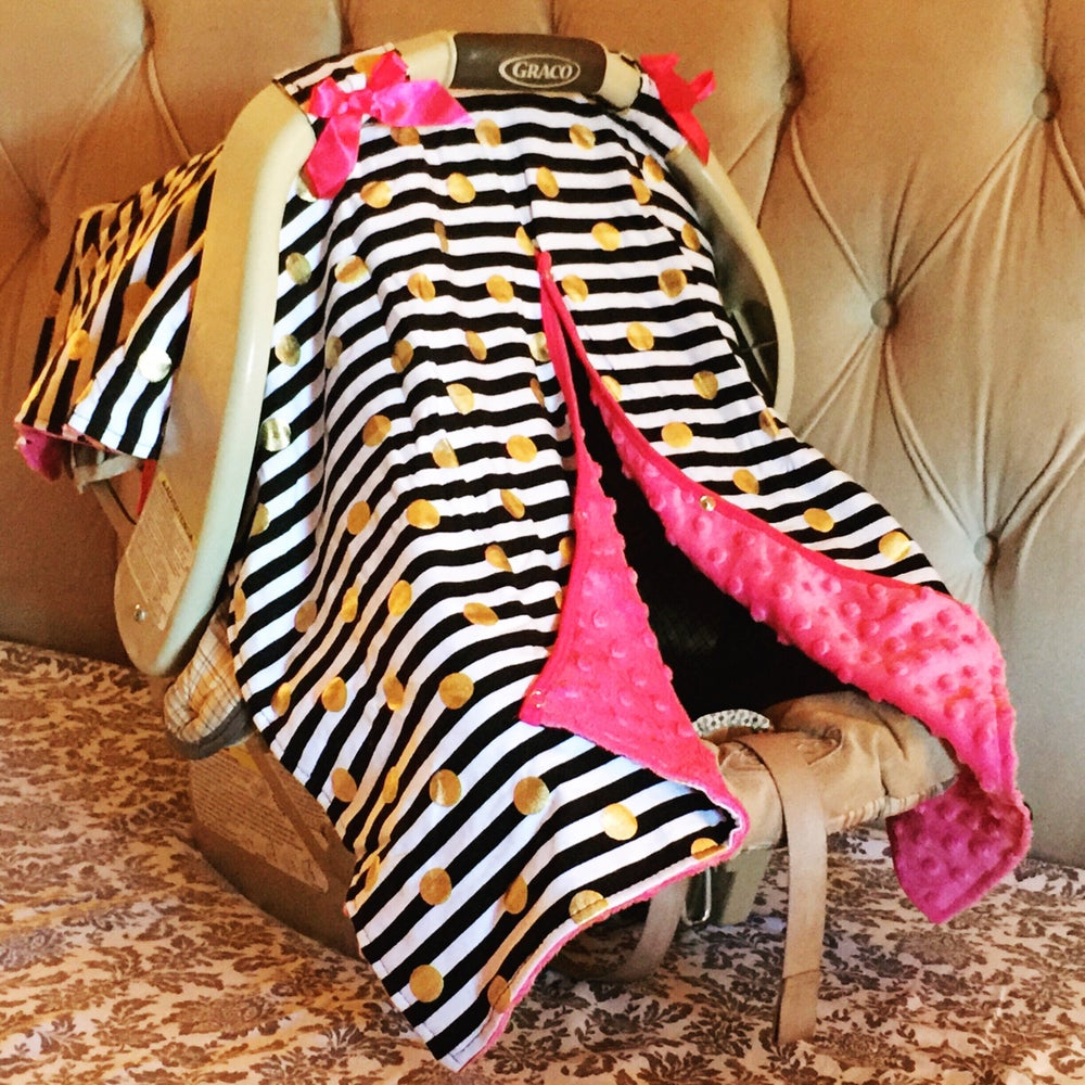 Image of Gold Dot Glamour Minky Baby Car Seat Canopy Cover: Black White Stripe, Hot Pink Minky, Baby Shower