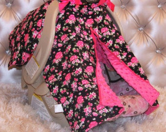 Image of Black & Bright Pink Vintage Floral Minky Baby Car Seat Cover, Shower Gift