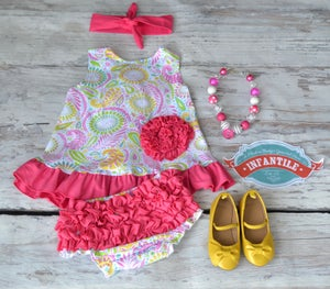 Image of Perfect Paisley Spring Swing Top & Ruffle Bloomers, Pink Trim, Open Back, Rose Design, Ready to Ship
