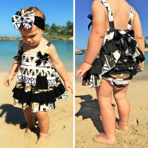 Image of Aztec Babe Black Gold Swing Top & Ruffle Bloomers; Summer, Bling, Boho, Metallic