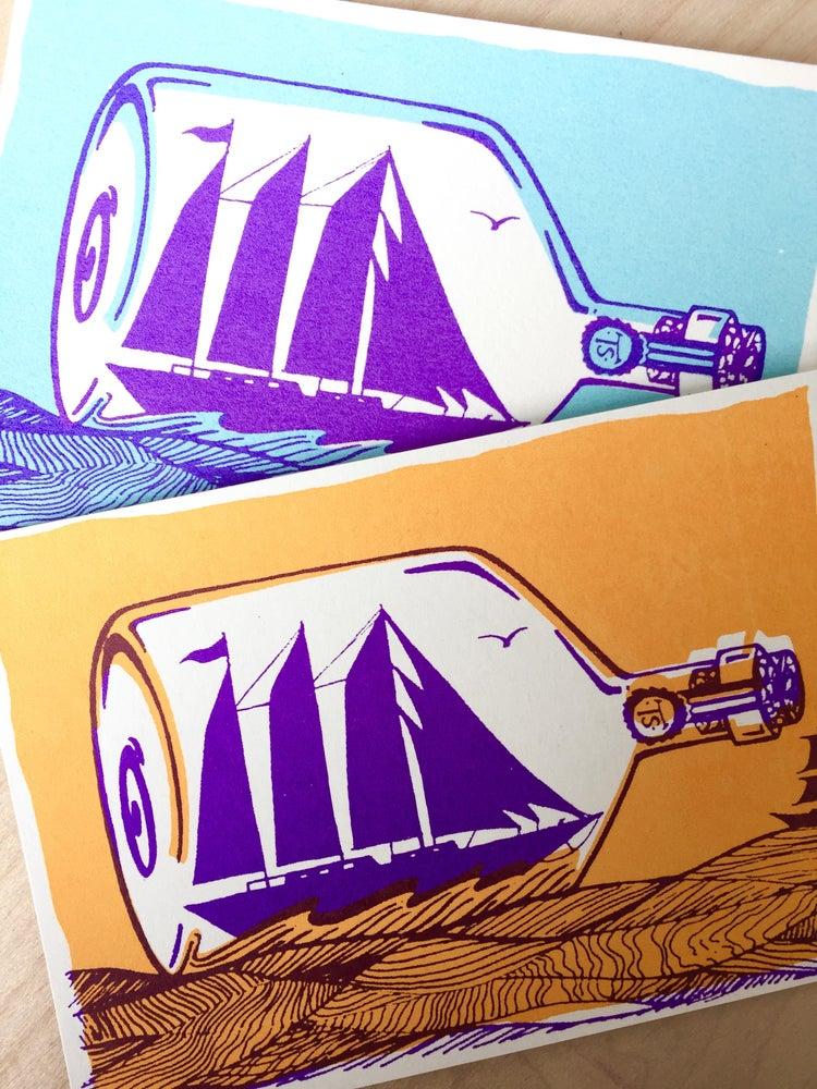Image of Ship in a Bottle (postcard pack x2)