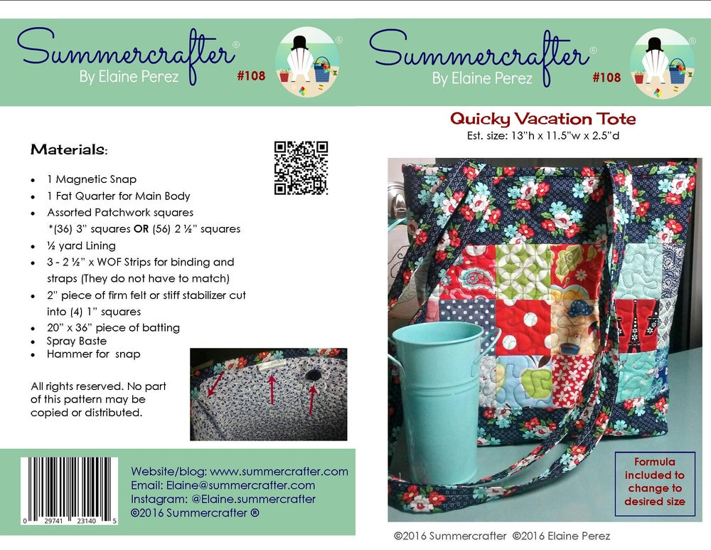 Image of Quicky Vacation Tote (PDF only)