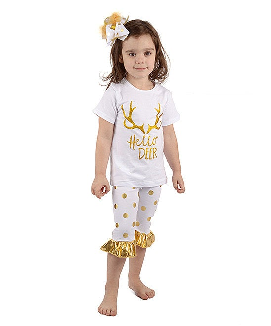 Image of Hello Deer White with Gold Polka Dot Outfit, Ruffle Short Set, Baby Toddler Little Girl Outfit