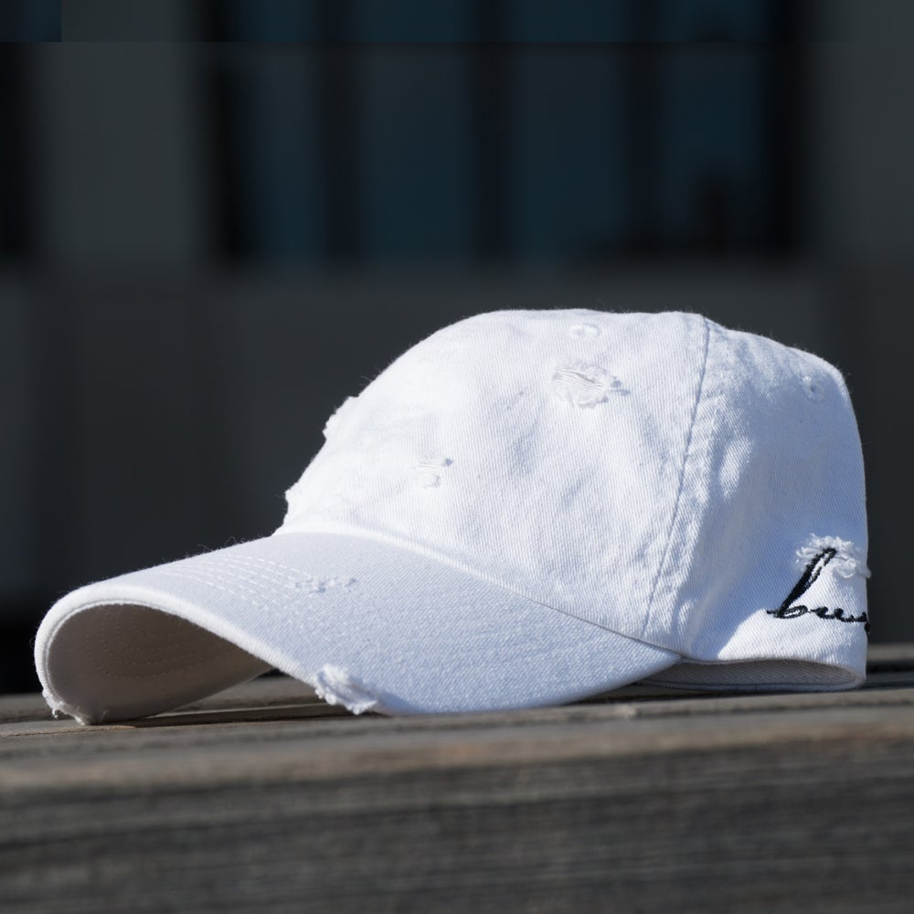 Image of Distressed White Side Script Hat