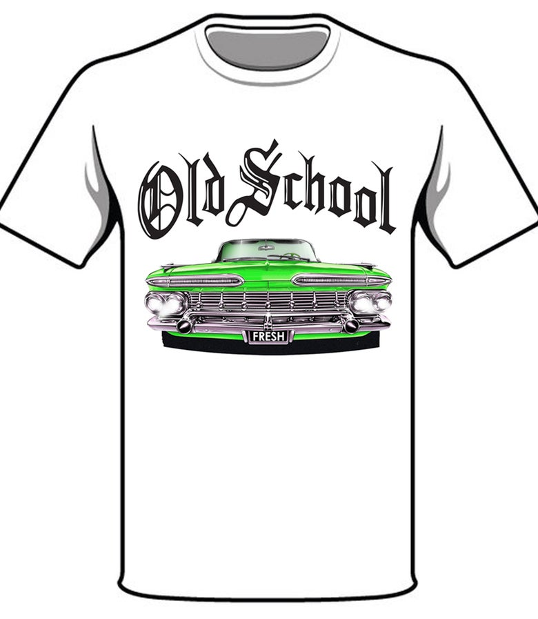 Image of #31W OS GREEN CAR WHITE TSHIRT