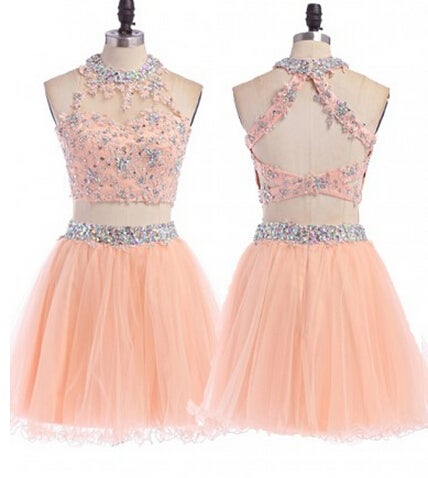 Lovely Light Pink Two Piece Beaded Homecoming Dresses, Two Piece party Dresses