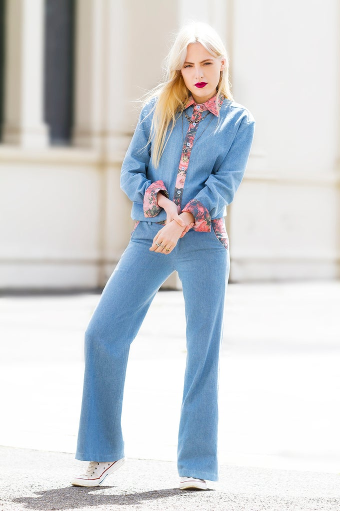 Image of CARINE PANT - DENIM/ROSE