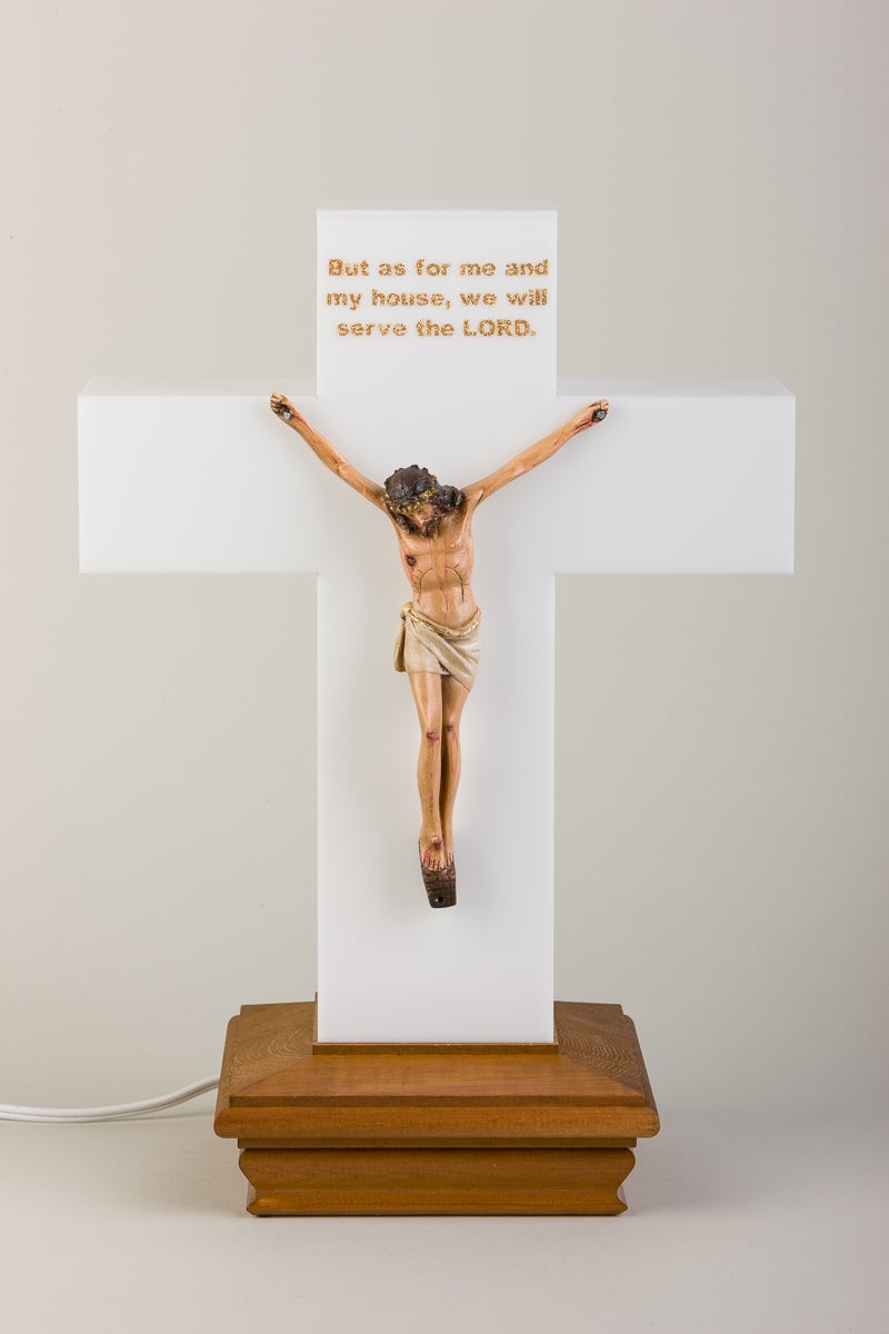 Superb Image Of Meditation Cross Lamp Crucifix (Taupe) U201cBut As For Me And My ...