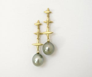 Image of Tahitan Gray Pearl Northern Cross Dangle Earrings 18k