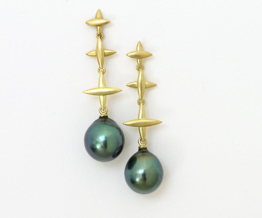 Image of Tahitan Black Pearl Northern Cross Dangle Earrings 18k