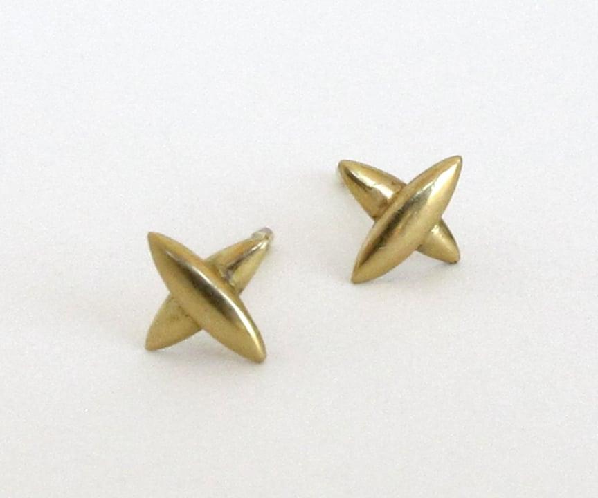 Image of Star Cross Med Stud 18k Earrings Pair or Single