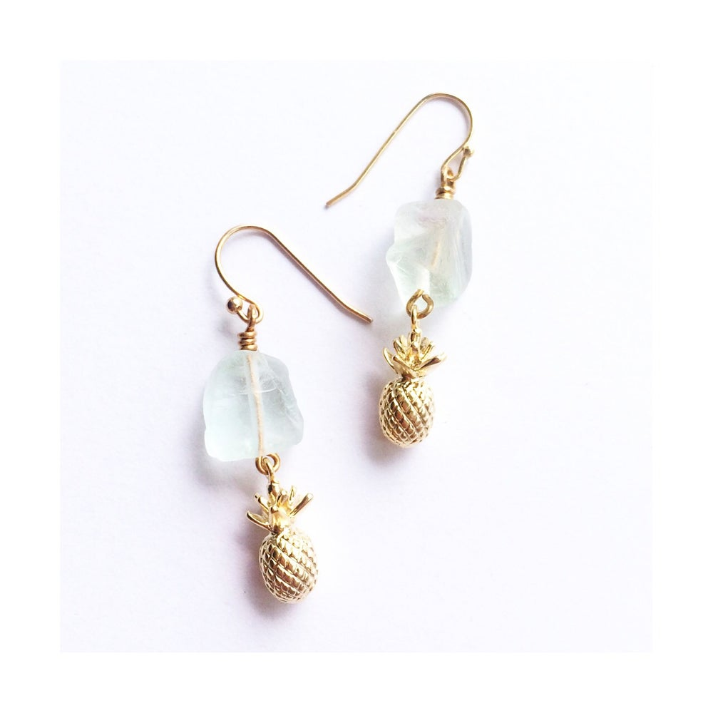 Image of Pineapple Crystal Earrings - with Fluorite crystal for Power