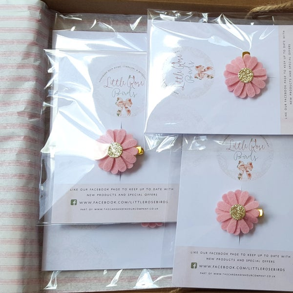 Image of Party Bag Packge - Felt Daisy / Felt Rose Clips